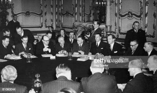 British Foreign Secretary Ernest Bevin meets the Foreign Ministers of France Belgium Holland and Luxembourg at Lancaster House in London to begin...