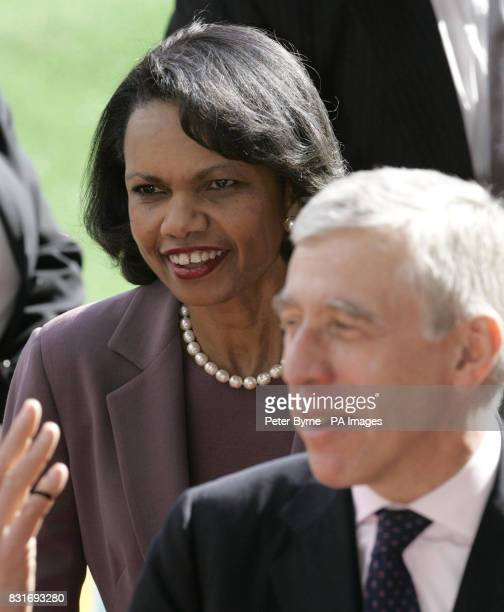 British Foreign Secretary Jack Straw and US Secretary of State Dr Condoleezza Rice at Ewood Park in Blackburn the home of Blackburn Rovers football...