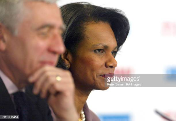 British Foreign Secretary Jack Straw and US Secretary of State Dr Condoleezza Rice at Ewood Park in Blackburn where they delivered keynote speeches...