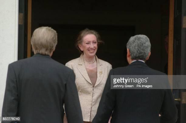 British Foreign Secretary Margaret Beckett greets her Italian counterpart Massimo D'Alema and the Italian Ambassador to the United Kingdom Giancarlo...