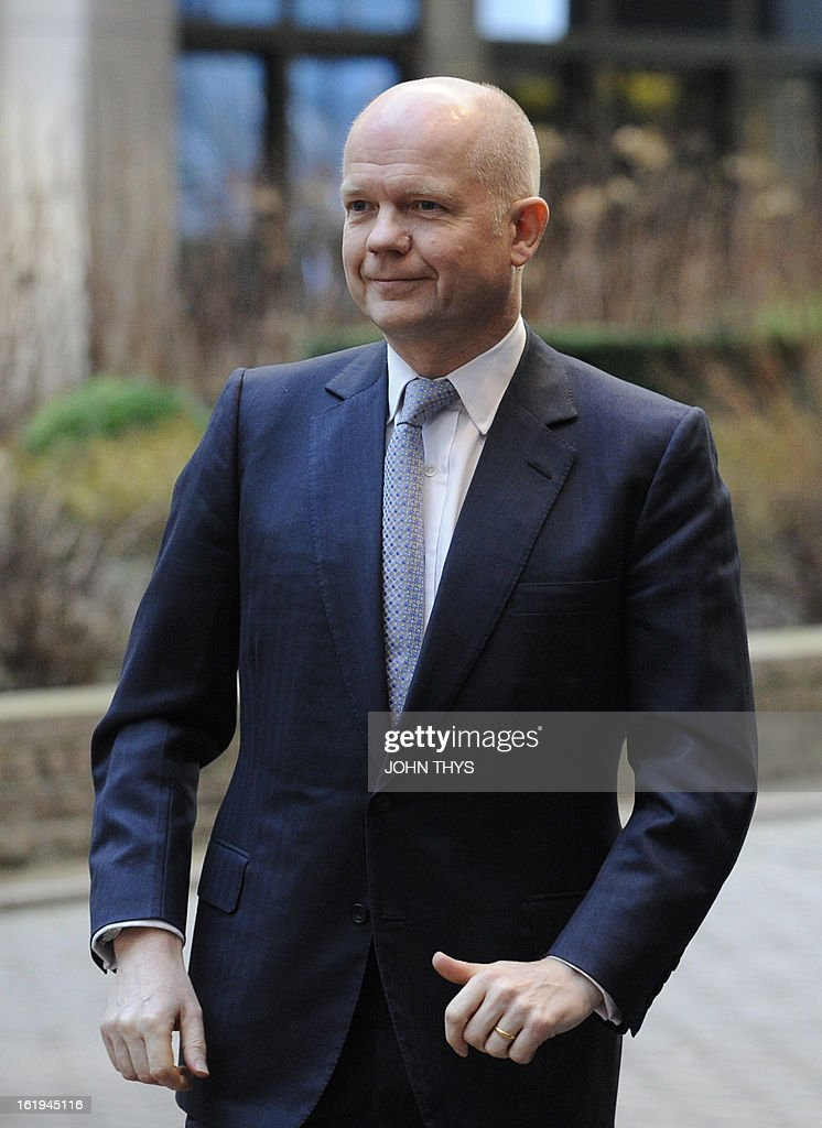 British Foreign Secretary of State for Foreign and Commonwealth Affairs, William Hague arrives before a Foreign Affairs Council at the EU Headquarters in Brussels on February 18, 2013. European foreign ministers discuss renewing sanctions on Syria and the possibly of lifting an arms embargo. Talks will also focus on the Mali crisis and Zimbabwe.