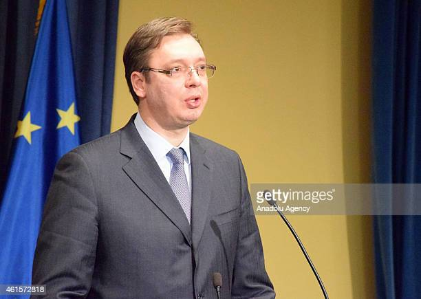 British Foreign Secretary Philip Hammond and Serbian Prime Minister Aleksandar Vucic attend a press conference following a meeting in Belgrade Serbia...