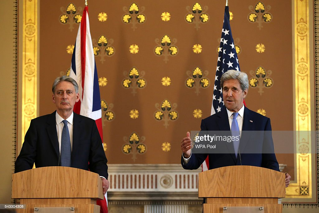 British Foreign Secretary <a gi-track='captionPersonalityLinkClicked' href=/galleries/search?phrase=Philip+Hammond&family=editorial&specificpeople=2486715 ng-click='$event.stopPropagation()'>Philip Hammond</a> (L) and US Secretary of State <a gi-track='captionPersonalityLinkClicked' href=/galleries/search?phrase=John+Kerry&family=editorial&specificpeople=154885 ng-click='$event.stopPropagation()'>John Kerry</a> (R) hold a joint press conference after their meeting at the Foreign and Commonwealth Office (FCO) on June 27, 2016 in London, England. US Secretary of State <a gi-track='captionPersonalityLinkClicked' href=/galleries/search?phrase=John+Kerry&family=editorial&specificpeople=154885 ng-click='$event.stopPropagation()'>John Kerry</a> urged EU members not to lose their heads over the referendum.