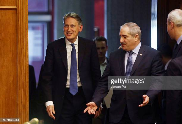 British Foreign Secretary Philip Hammond arrives for a joint press conference with his Jordanian counterpart Nasser Judeh on February 1 2016 in Amman...