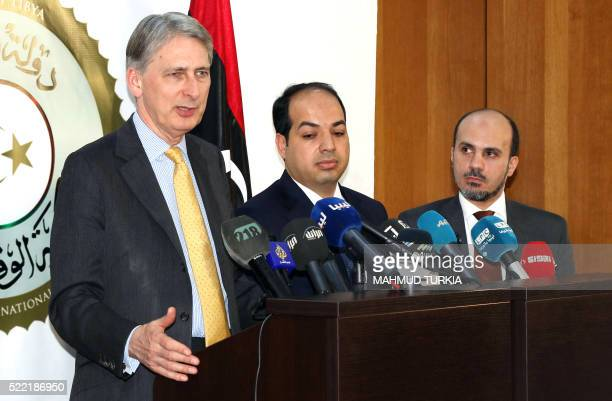 British Foreign Secretary Philip Hammond attends a press conference with Ahmed Maiteeq Libyan deputy prime minister of the Government of National...