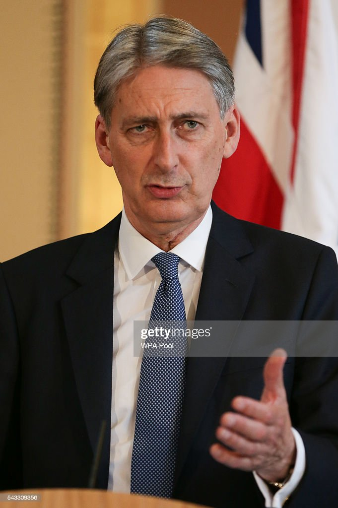 British Foreign Secretary <a gi-track='captionPersonalityLinkClicked' href=/galleries/search?phrase=Philip+Hammond&family=editorial&specificpeople=2486715 ng-click='$event.stopPropagation()'>Philip Hammond</a> holds a joint press conference with US Secretary of State John Kerry (not pictured) after their meeting at the Foreign and Commonwealth Office (FCO) on June 27, 2016 in London, England. US Secretary of State John Kerry urged EU members not to lose their heads over the referendum.