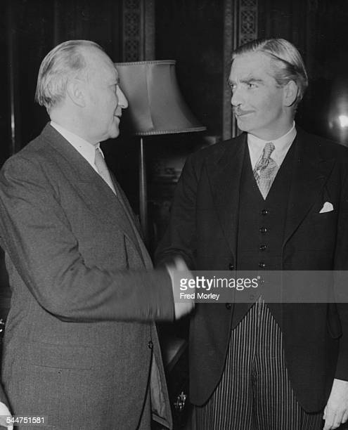 British Foreign Secretary Sir Anthony Eden talking to German Federal Chancellor Dr Konrad Adenauer at the Foreign Office London December 3rd 1951
