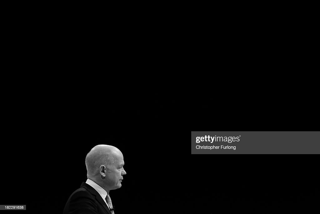 British Foreign Secretary William Hague addresses delegates at Manchester Central on the first day of the annual Conservative Conference on September 29, 2013 in Manchester, England. Prime Minister David Cameron has announced that the Government is to bring forward by three months its scheme to assist first-time home buyers in England to take out 95% mortgages.