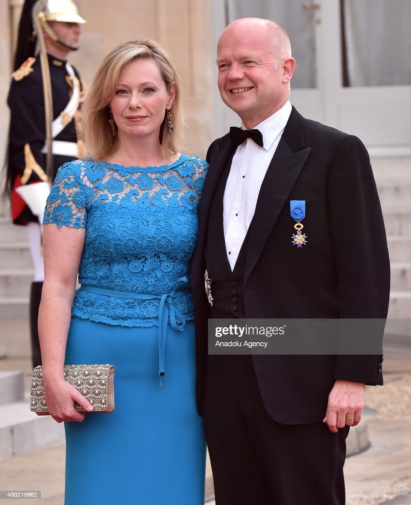 British Foreign Secretary <a gi-track='captionPersonalityLinkClicked' href=/galleries/search?phrase=William+Hague&family=editorial&specificpeople=206295 ng-click='$event.stopPropagation()'>William Hague</a> (R) and his wife Ffion arrive to the Elysee Palace for the State dinner in honor of the Queen hosted by French President Francois Hollande in Paris, France on 6 June, 2014.