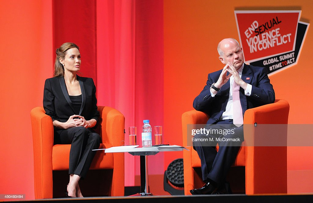 British Foreign Secretary William Hague and UN Special Envoy and actress Angelina Jolie attend the Global Summit to End Sexual Violence in Conflict at ExCel on June 12, 2014 in London, England. The four-day conference on sexual violence in war is hosted by Foreign Secretary William Hague and UN Special Envoy and actress Angelina Jolie.