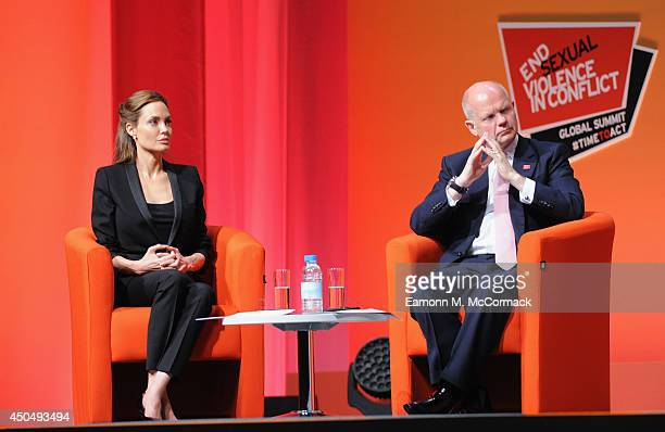 British Foreign Secretary William Hague and UN Special Envoy and actress Angelina Jolie attend the Global Summit to End Sexual Violence in Conflict...