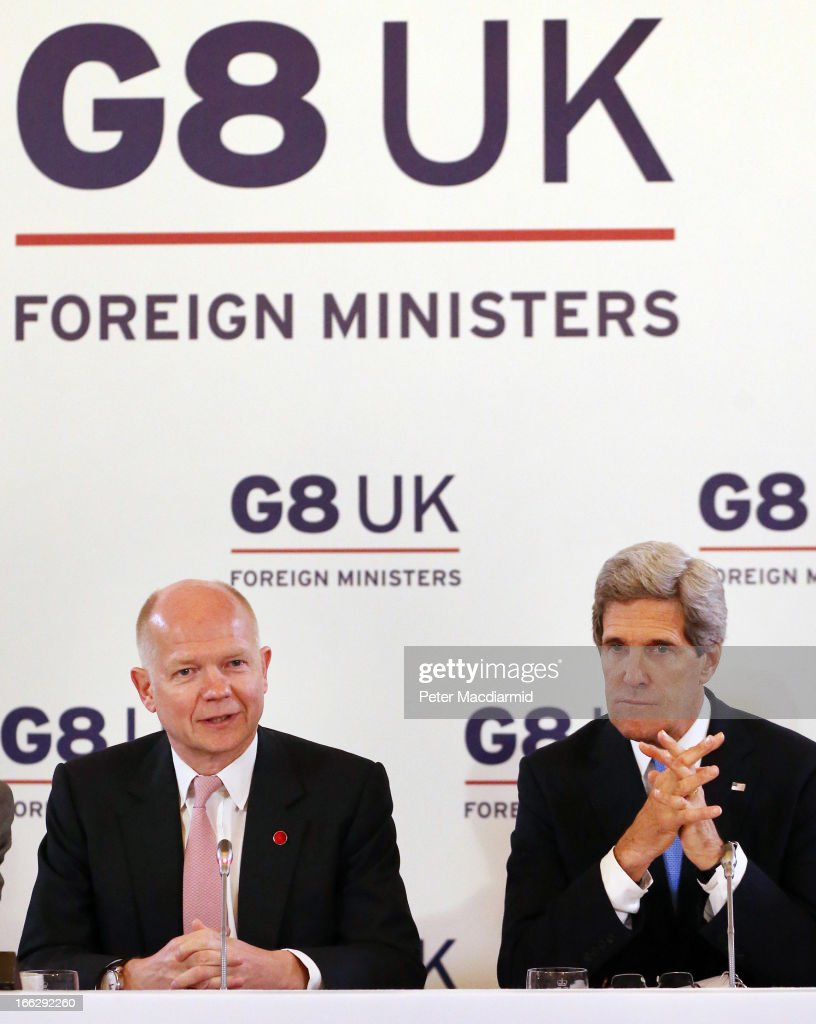 British Foreign Secretary <a gi-track='captionPersonalityLinkClicked' href=/galleries/search?phrase=William+Hague&family=editorial&specificpeople=206295 ng-click='$event.stopPropagation()'>William Hague</a> (L) and US Secretary of State <a gi-track='captionPersonalityLinkClicked' href=/galleries/search?phrase=John+Kerry&family=editorial&specificpeople=154885 ng-click='$event.stopPropagation()'>John Kerry</a> attend the first session at the Foreign Ministers G8 meeting at Lancaster House on April 11, 2013 in London, England. G8 Foreign Ministers are holding a two day meeting where they will discuss the situation in the Middle East, including Syria and Iran, security and stability across North and West Africa, Democratic People's Republic of Korea and climate change. British Foreign Secretary <a gi-track='captionPersonalityLinkClicked' href=/galleries/search?phrase=William+Hague&family=editorial&specificpeople=206295 ng-click='$event.stopPropagation()'>William Hague</a> will also highlight five key policy priorities.