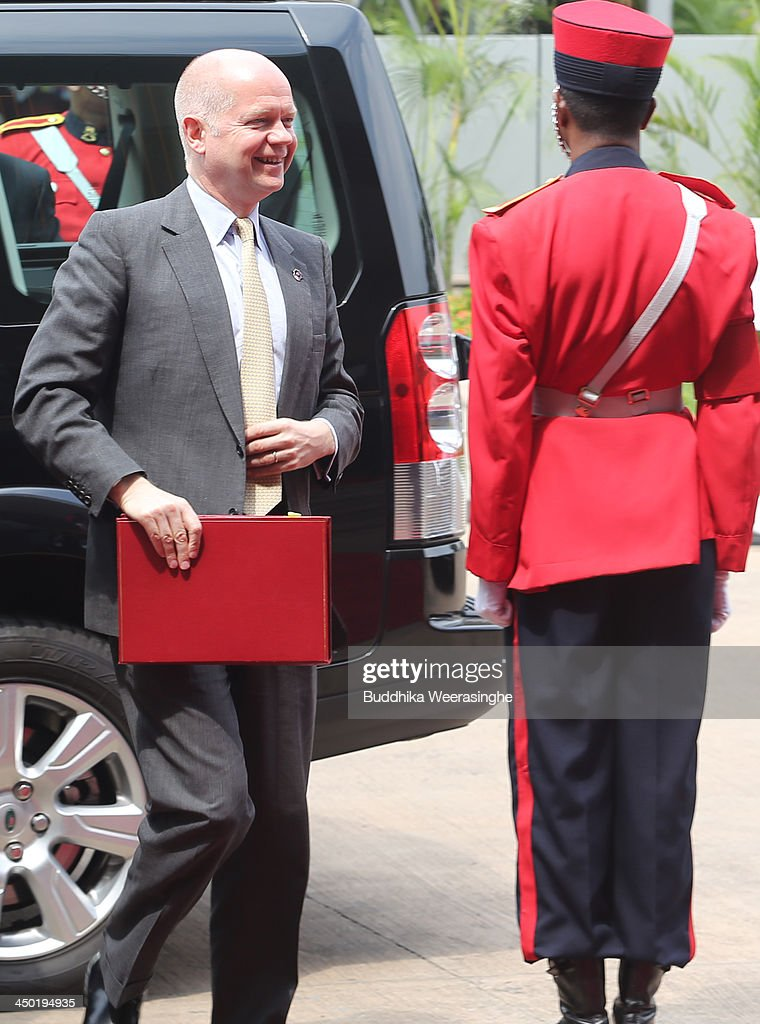 British Foreign Secretary <a gi-track='captionPersonalityLinkClicked' href=/galleries/search?phrase=William+Hague&family=editorial&specificpeople=206295 ng-click='$event.stopPropagation()'>William Hague</a> arrives for the working session of the final day of the Commonwealth Heads of Government Meeting (CHOGM) on November 17, 2013 in Colombo, Sri Lanka. The biennial summit of Commonwealth leaders was attended by over 5000 delegates including the Prince of Wales and the Duchess of Cornwall.