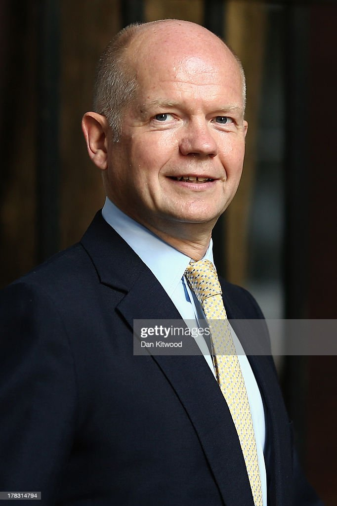 British Foreign Secretary <a gi-track='captionPersonalityLinkClicked' href=/galleries/search?phrase=William+Hague&family=editorial&specificpeople=206295 ng-click='$event.stopPropagation()'>William Hague</a> arrives in Downing Street on August 29, 2013 in London, England. Prime Minister David Cameron has recalled Parliament to debate the UK's response to a suspected chemical weapon attack in Syria.