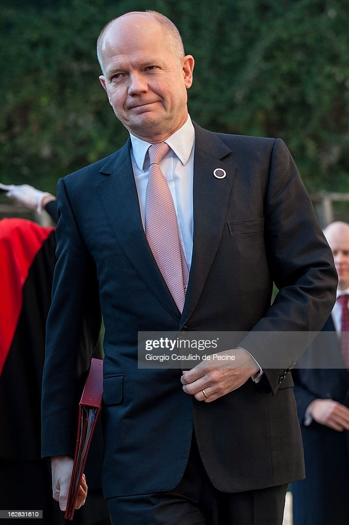British Foreign Secretary, <a gi-track='captionPersonalityLinkClicked' href=/galleries/search?phrase=William+Hague&family=editorial&specificpeople=206295 ng-click='$event.stopPropagation()'>William Hague</a> arrives to attend a meeting of the 'Friends of the Syrian People', attended by U.S. Secretary John Kerry, at Villa Madama on February 28, 2013 in Rome, Italy. Kerry stated that the opposition needs 'more help' in the fight against President Bashar Hafez al-Assad. The new U.S. Secretary of State is on his first trip and is visiting nine nations in Europe and the Middle East.