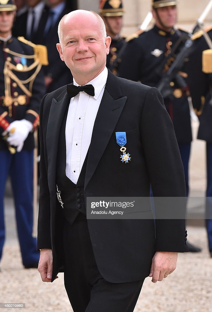 British Foreign Secretary <a gi-track='captionPersonalityLinkClicked' href=/galleries/search?phrase=William+Hague&family=editorial&specificpeople=206295 ng-click='$event.stopPropagation()'>William Hague</a> arrives to the Elysee Palace for the State dinner in honor of the Queen hosted by French President Francois Hollande in Paris, France on 6 June, 2014.