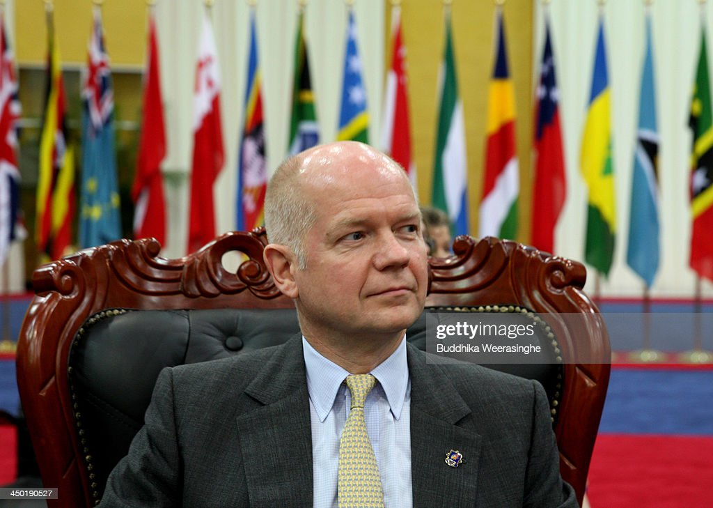 British Foreign Secretary <a gi-track='captionPersonalityLinkClicked' href=/galleries/search?phrase=William+Hague&family=editorial&specificpeople=206295 ng-click='$event.stopPropagation()'>William Hague</a> attends the working session of final day of the Commonwealth Heads of Government Meeting (CHOGM) on November 17, 2013 in Colombo, Sri Lanka. The biennial summit of Commonwealth leaders was attended by over 5000 delegates including the Prince of Wales and the Duchess of Cornwall.