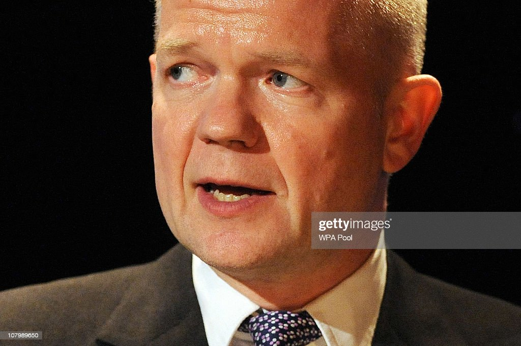 British Foreign Secretary <a gi-track='captionPersonalityLinkClicked' href=/galleries/search?phrase=William+Hague&family=editorial&specificpeople=206295 ng-click='$event.stopPropagation()'>William Hague</a> gives a speech with Chinese Vice Premier Li Keqiang in attendance during the China-Britain British Council Banquet at the Royal Courts of Justice on January 11, 2011 in London. Britain and China signed trade deals worth 2.6 billion GBP and it was also announced Beijing will loan a pair of giant pandas to Edinburgh Zoo for 10 years.
