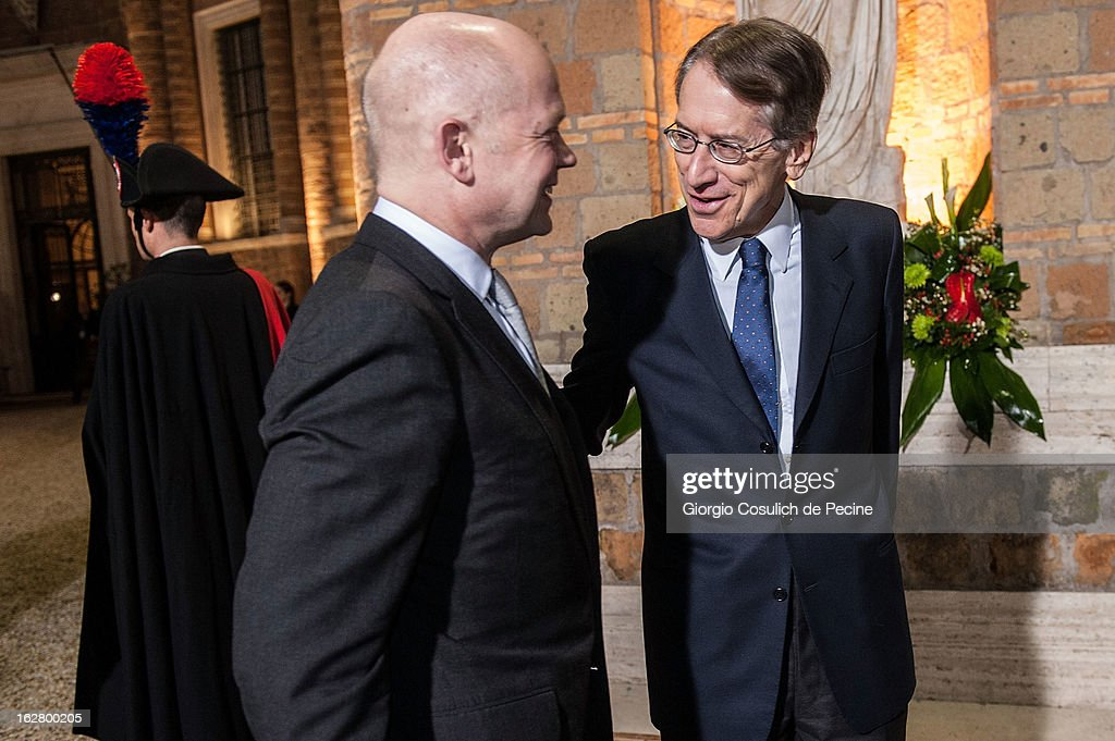 British Foreign Secretary, William Hague (L) meets with Italian Foreign Minister Giulio Terzi, as he arrives to attend a meeting with U.S. Secretary of State John Kerry at Villa Madama on February 27, 2013 in Rome, Italy. John Kerry is on his first trip as Secretary of State visiting nine nations in Europe and the Mideast.
