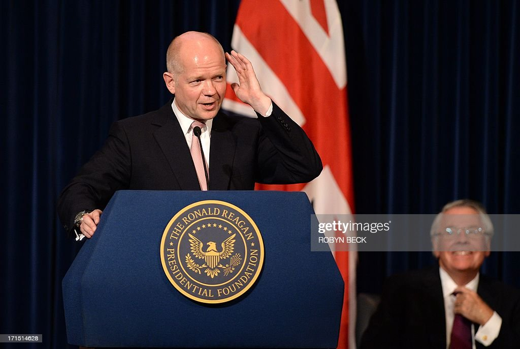 British Foreign Secretary William Hague speaks at the Ronald Reagan Presidential Library in Simi Valley, California June 25, 2013.