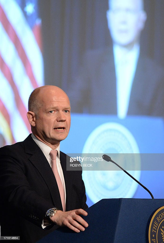 British Foreign Secretary William Hague speaks at the Ronald Reagan Presidential Library in Simi Valley, California June 25, 2013. AFP PHOTO / ROBYN BECK