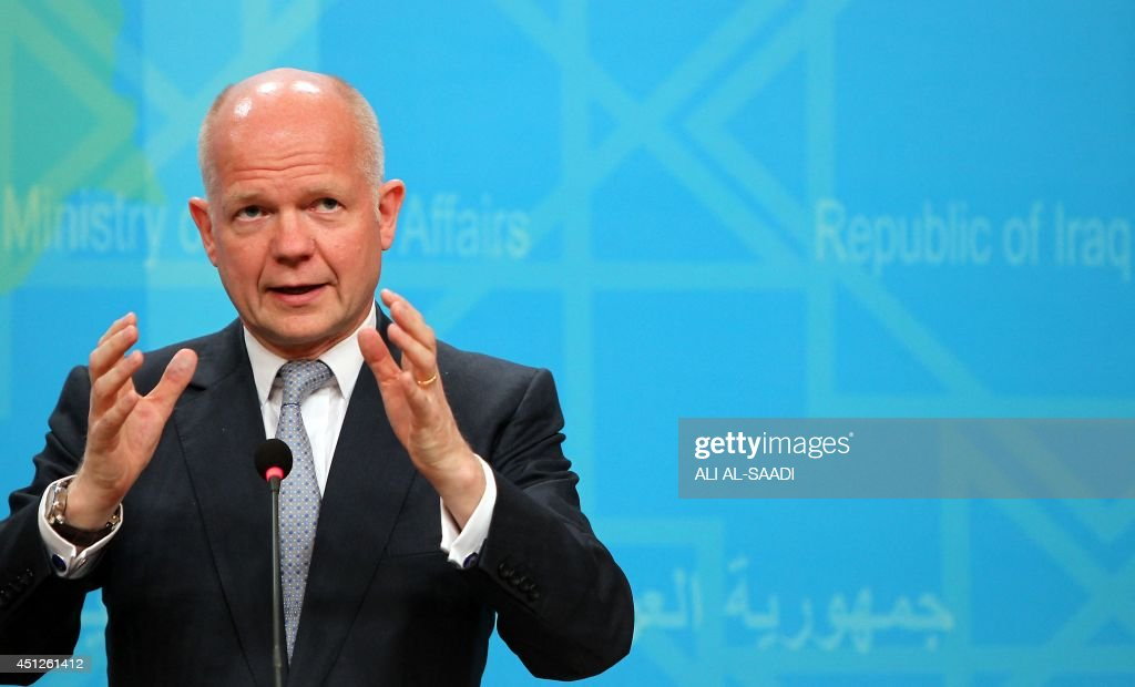 British Foreign Secretary <a gi-track='captionPersonalityLinkClicked' href=/galleries/search?phrase=William+Hague&family=editorial&specificpeople=206295 ng-click='$event.stopPropagation()'>William Hague</a> speaks during a press conference at the Ministry of Foreign Affairs in the Iraqi capital Baghdad on June 26, 2014. Hague called on Iraq's leaders during a surprise visit to Baghdad to unite in the face of a Sunni militant offensive that threatens the country's existence. AFP PHOTO / ALI AL-SAADI
