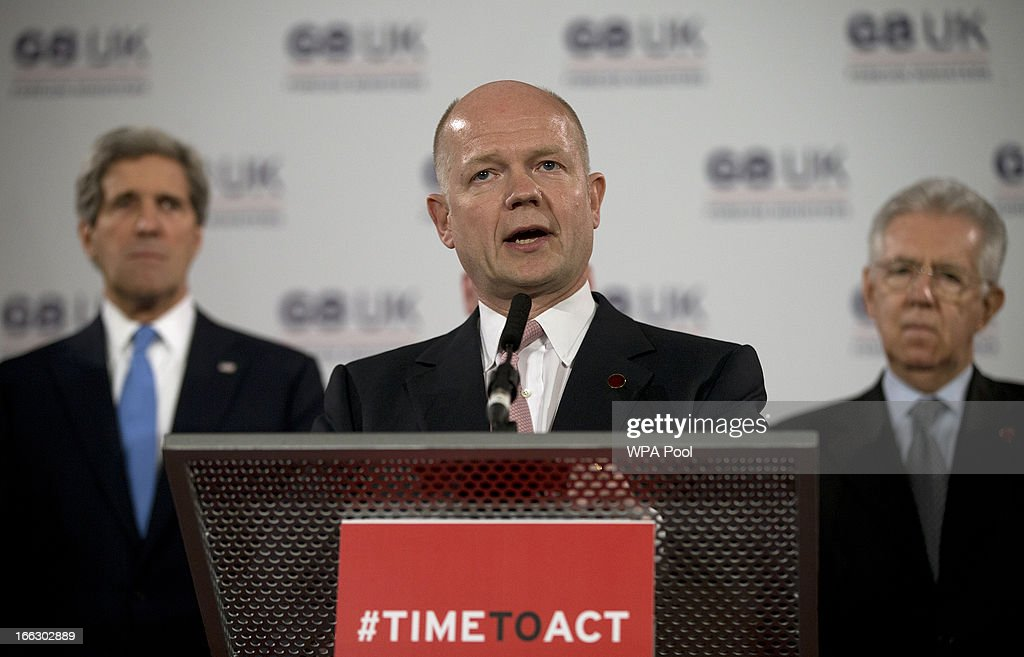 British Foreign Secretary <a gi-track='captionPersonalityLinkClicked' href=/galleries/search?phrase=William+Hague&family=editorial&specificpeople=206295 ng-click='$event.stopPropagation()'>William Hague</a> talks during a news conference regarding sexual violence against women in conflict, at the Foreign Ministers G8 meeting in Lancaster House on April 11, 2013 in London, England. G8 Foreign Ministers are holding a two day meeting where they will discuss the situation in the Middle East, including Syria and Iran, security and stability across North and West Africa, Democratic People's Republic of Korea and climate change. British Foreign Secretary <a gi-track='captionPersonalityLinkClicked' href=/galleries/search?phrase=William+Hague&family=editorial&specificpeople=206295 ng-click='$event.stopPropagation()'>William Hague</a> will also highlight five key policy priorities.