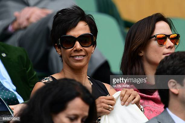 British former athlete Kelly Holmes sits in the royal box on centre court on the ninth day of the 2016 Wimbledon Championships at The All England...