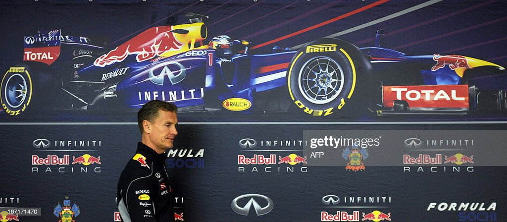 British former Formula One racing driver from Scotland turned commentator David Coulthard attends a press conference in Rusian Black Sea resort of Sochi on April 22, 2013. Coulthard attended today a special promotional event at the new Russian Grand Prix circuit in Sochi, the location for the 2014 Winter Olympic.