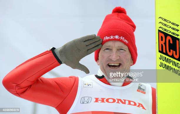British former ski jumper Michael Edwards known as Eddie 'The Eagle' poses during the FourHillsTournament in Oberstdorf southern Germany on December...