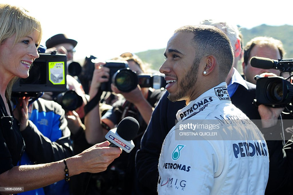 British Formula One driver Lewis Hamilton answers to journalists during the unveil of the new Mercedes W04 as part of the Formula One training session at Jerez racetrack, on February 4, 2013 in Jerez de la Frontera.