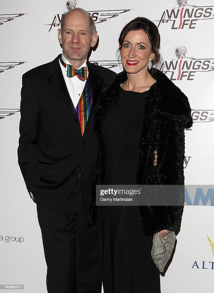 British Formula One engineer Adrian Newey OBE and friend attend a dinner and ball hosted by The Cord Club in aid of Wings For Life at One Marylebone on February 28, 2013 in London, England.