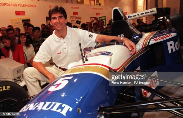 British Formula One motor racing ace Damon Hill pictured at the Live '96 home electronics and entertainments exhibition at Earls Court in London...