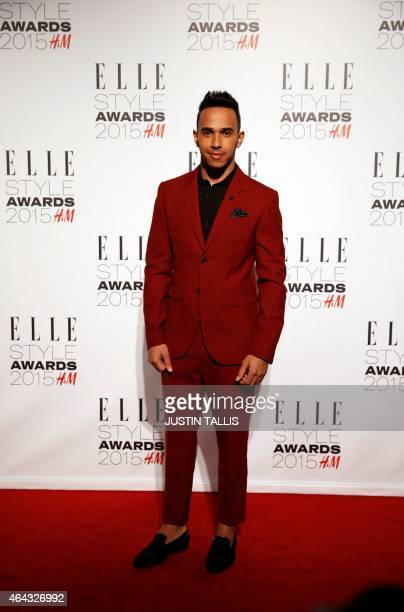 British Formula One racing car driver Lewis Hamilton arrives on the red carpet for the ELLE Style Awards 2015 in London on February 24 2015 The ELLE...