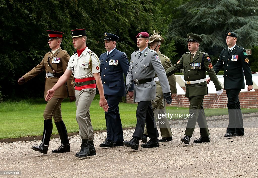 British, French and Commonweatlh officers march together during the Commemoration of the Centenary of the Battle of the Somme at the Commonwealth War Graves Commission Thiepval Memoria on July 1, 2016 in Thiepval, France. The event is part of the Commemoration of the Centenary of the Battle of the Somme at the Commonwealth War Graves Commission Thiepval Memorial in Thiepval, France, where 70,000 British and Commonwealth soldiers with no known grave are commemorated.