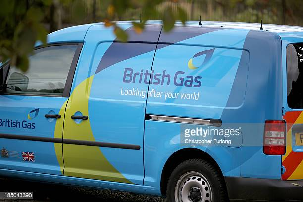 British Gas van leaves Leicester's Aylestone Road British Gas Centre on October 17 2013 in Leicester United Kingdom British Gas who supply energy to...
