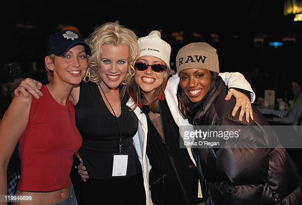 British girl group All Saints with host American model and comedian Jenny McCarthy at the MTV Europe Music Awards at the Fila Forum Milan 12th...