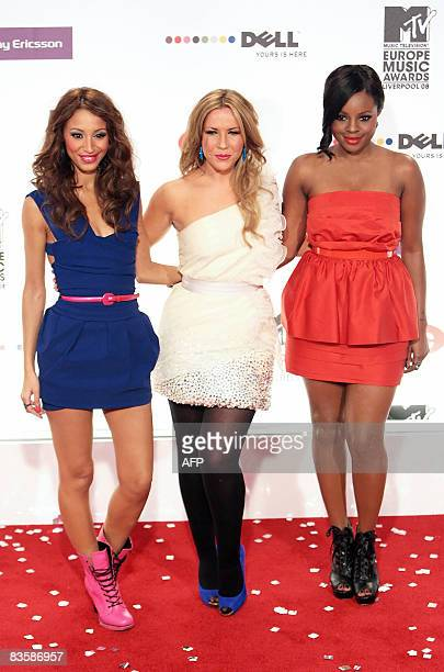 British girl group Sugababes arrive at the 2008 MTV Europe Music Awards at the Echo Arena in Liverpool on November 6 2008 Hosted by singer Kate Perry...