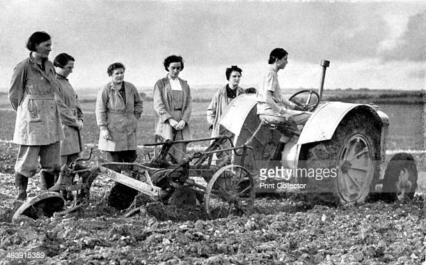 British girls of the Women's Land Army learning to plough with a tractor World War II 19391945 The Women's Land Army was established in June 1939 to...