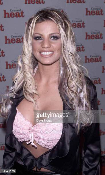 British glamour girl Jordan arrives at the Heat Magazine party at the Park Lane Hotel on February 17 2001 in London
