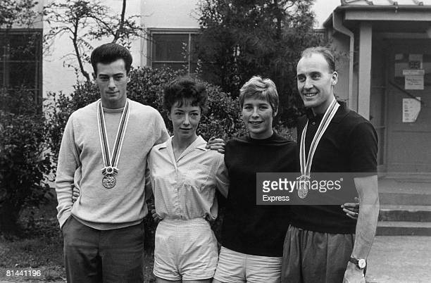 British gold medal winners at the Tokyo Olympics 23rd October 1964 Left to right long jumper Lynn Davies 800metre runner Ann Packer long jumper Mary...