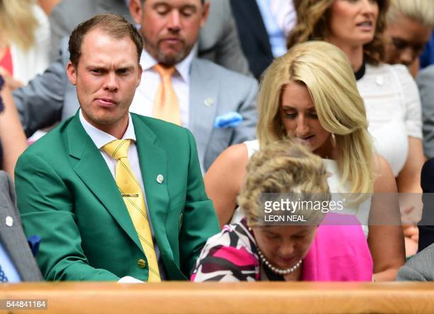 British golfer Danny Willett sits in the royal box on centre court on the eighth day of the 2016 Wimbledon Championships at The All England Lawn...