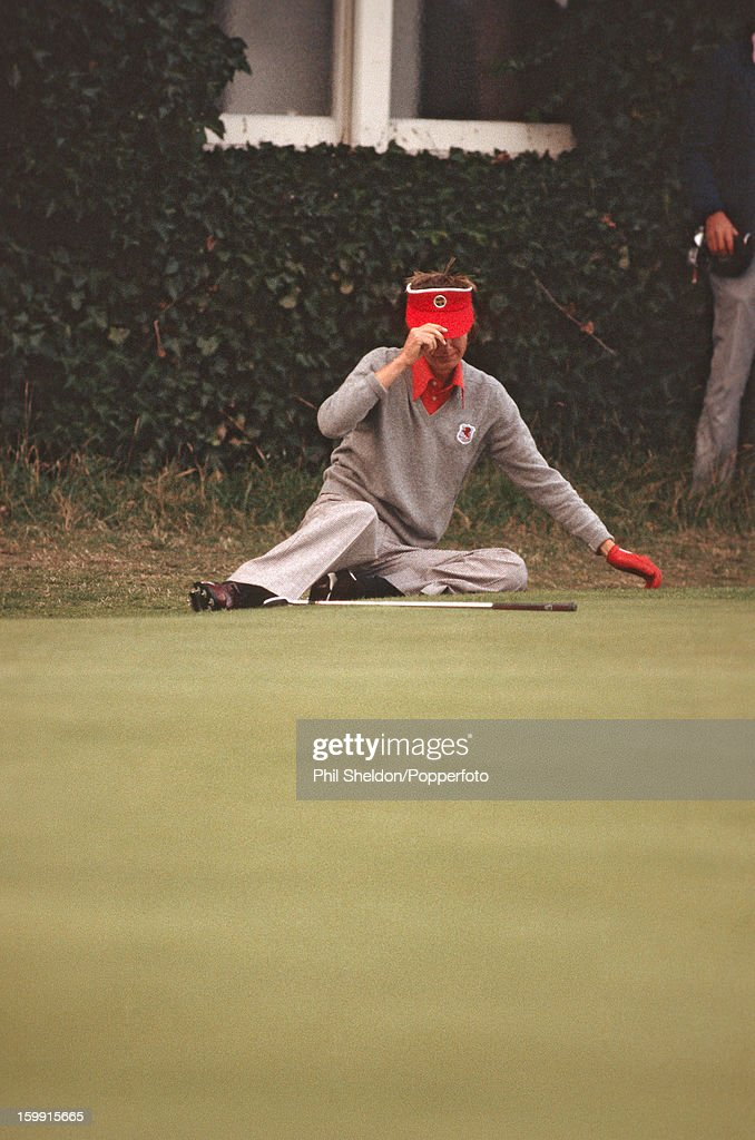 British golfer Ken Brown reacts after missing a putt at the 18th during the Ryder Cup golf competition held at the Lytham St Annes Golf Club in...