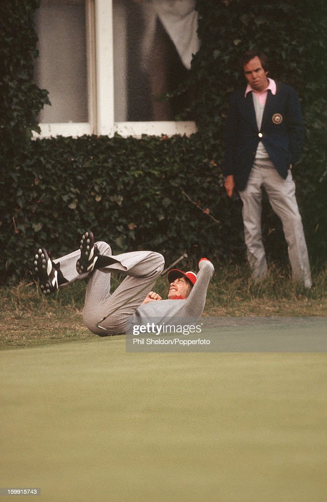 British golfer Ken Brown reacts after missing a shot at the 18th during the Ryder Cup golf competition held at the Lytham St Annes Golf Club in...