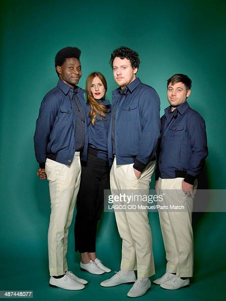British group Metronomy with Gbenga Adelekan Anna Prior Joseph Mount and Oscar Cash are photographed for Paris Match on February 21 2014 in Paris...