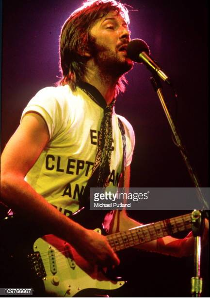 British guitarist Eric Clapton performing on stage in Philadelphia during his US tour July 1974