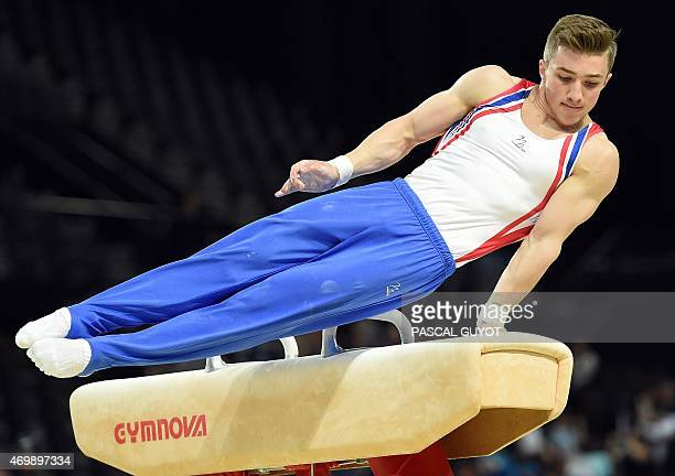 British gymnast Sam Oldham competes in a qualifying round of the Pommel horse event of the European Men's Artistic Gymnastics Championships on April...
