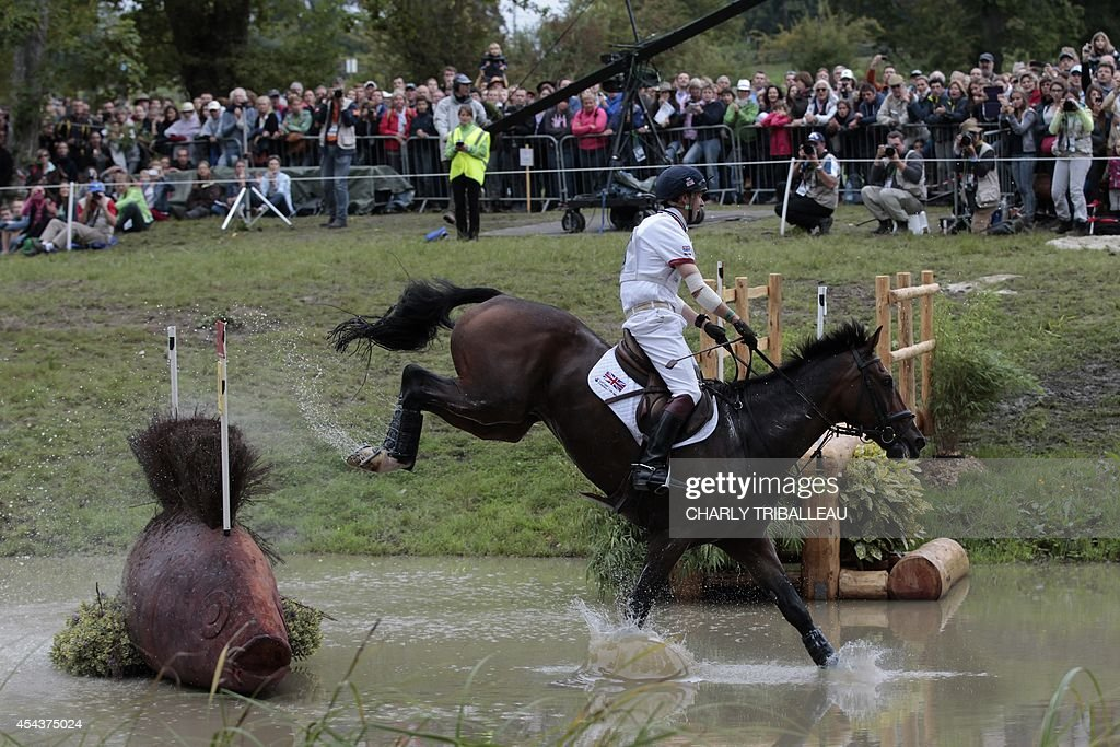 British Harry Meade rides Wild One on August 30 2014 during the timetable crosscountry test of the 2014 FEI World Equestrian Games at the Haras du...