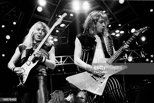 British heavy metal band Iron Maiden performs at Madison Square Garden during their World Piece Tour New York New York October 8 1983 Pictured are...