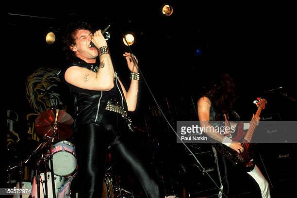 British heavy metal band Iron Maiden performs at Pointe East during their Killer World Tour Lynwood Illinois June 26 1981 Pictured are Paul Di'Anno...